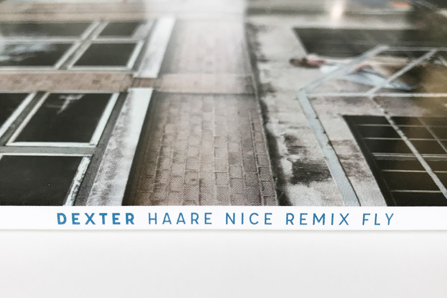 Dexter 'Haare Nice Remix Fly' cover artwork spine by studio volito