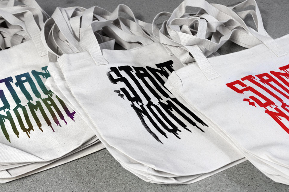 — Bags screenprinted by hand, each with unique colors