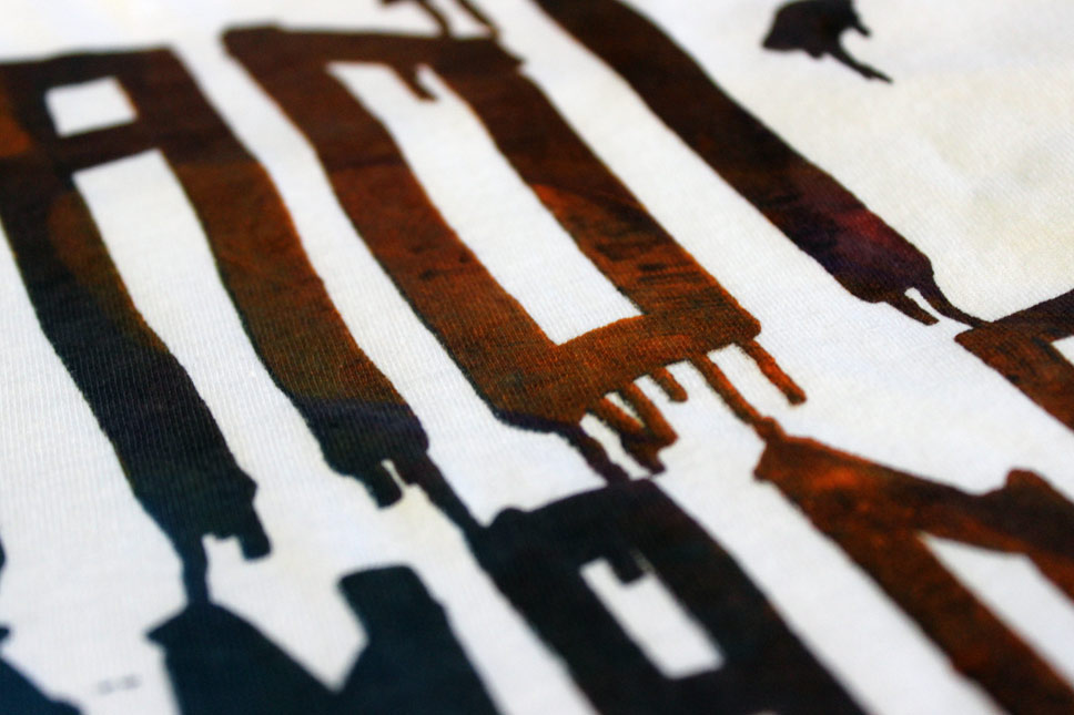 — T-Shirts screenprinted by hand, each with unique colors