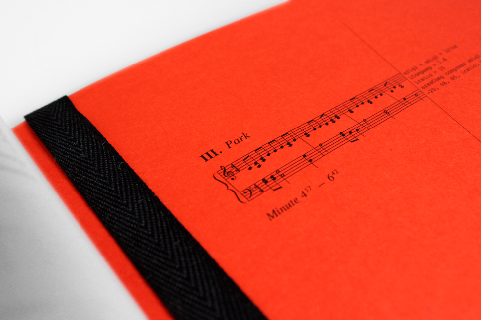 — Chapter markers on thick orange cardboard designate time