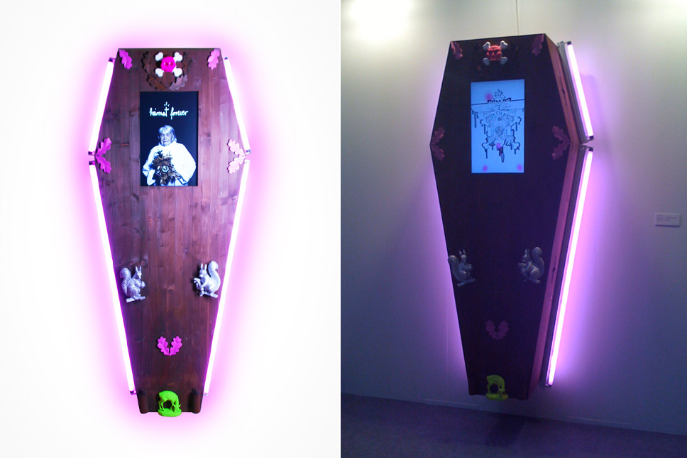 — 'heimat forever' coffin with audiovisual clip, art KARLSRUHE 2009